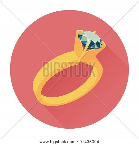 Wedding ring vector icon. Flat design