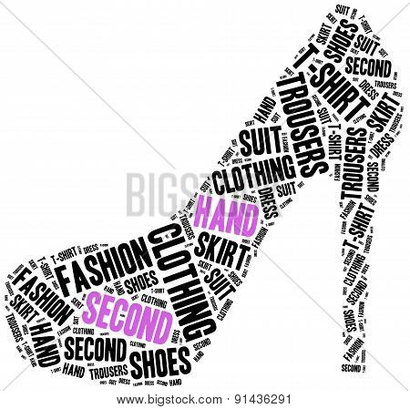 Second Hand. Word Cloud Illustration.