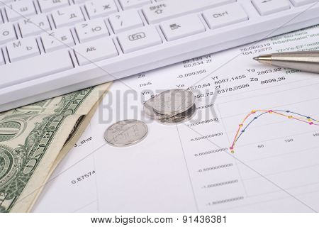 White keyboard with dollars and coins
