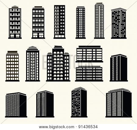 Icons Of Urban Black And White Modern  Buildings