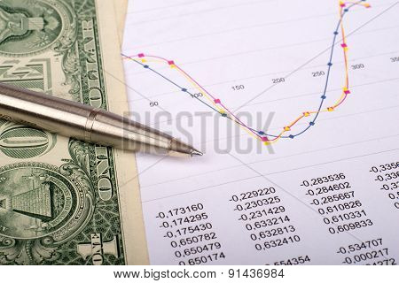 Document with graphs and dollars
