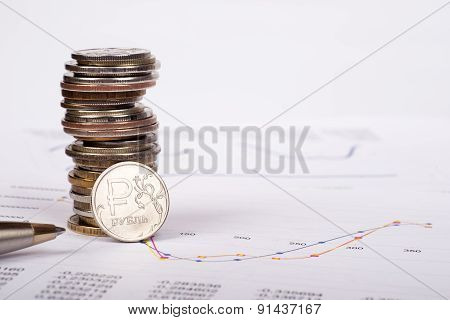Documents with coins