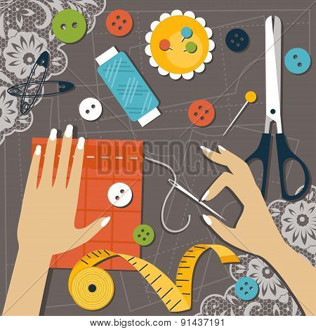Sewing. Flat Vector Illustration