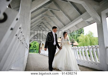 Young Cute Wedding Couple Walking At The Covered Wooden Bridge