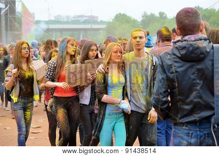 Moscow, Russia - May 23, 2015: Festival Of Colors Holi In The Luzhniki Stadium. Roots Of This Fest A