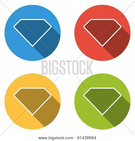 Collection Of 4 Isolated Flat Buttons For Diamond (jewel)
