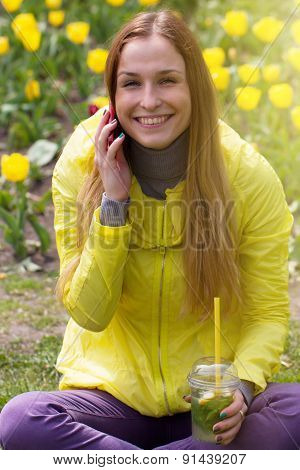 Woman Calling On The Mobile Phone