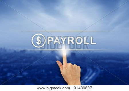 Hand Clicking Payroll Button On Touch Screen