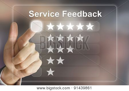 Business Hand Pushing Service Feedback On Virtual Screen