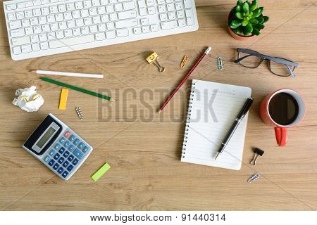 Office Supply And Cup Of Coffee On Desk