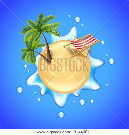 Beach With Palms, Chair And Water Splash Vector