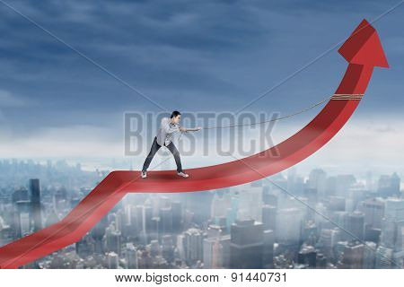 Male Worker Pulling Arrow Upward