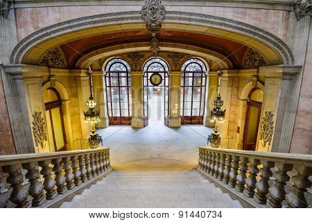 PORTO, PORTUGAL - OCTOBER 15, 2014: Stairs in the Stock Exchange Palace (Palacio da Bolsa). The palace was built in the 19th century by the city's Comercial Association.