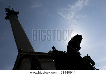 Hero's Square In Budapest Silhouette