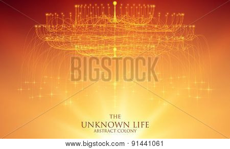 Abstract vector mesh background. Bioluminescence of tentacles. Futuristic style card.