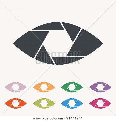 Shutter eye conceptual flat abstract vector icon