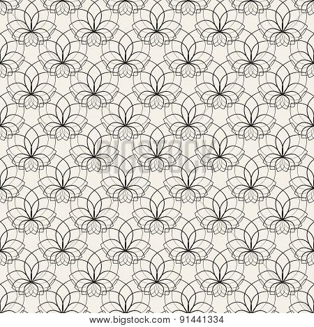 Floral seamless pattern. Vector illustration. Black and white