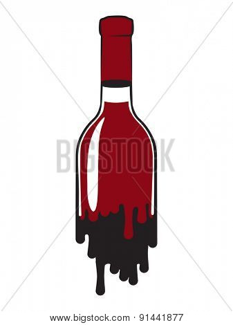 fluid bottle of red wine