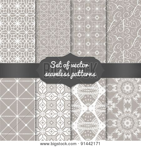 Set of abstract geometric pattern backgrounds.