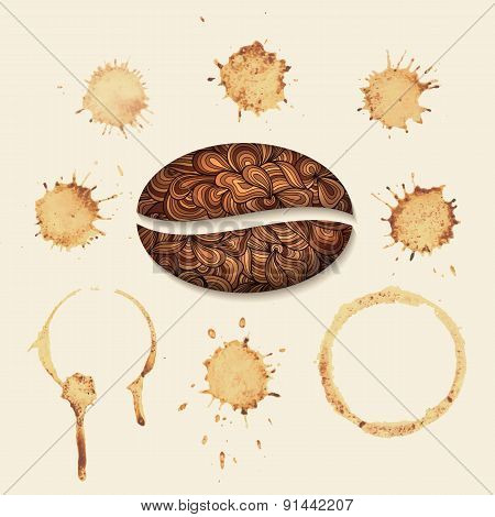 Vector coffee stains on the paper. Isolated stains on uniform background.