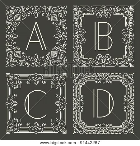 Set of vector floral and geometric monogram logos with capital letter on dark gray background. Monog