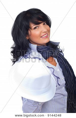 Elegant Businesswoman Holding  White Hat