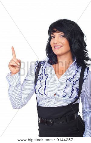 Attractive Business Woman Pointing Up