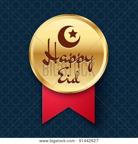 Golden Badge With Crescent, Star And Lettering Happy Eid