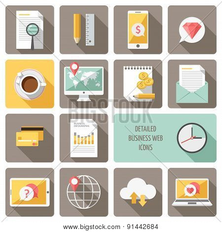 Detailed business web icons vector