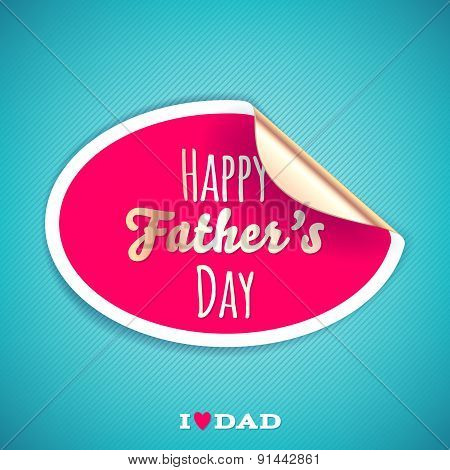 Happy fathers day background with round sticker.