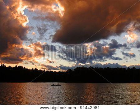 Sunset Lake with Canoe