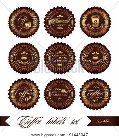 Coffee labels set, vector, in gold color