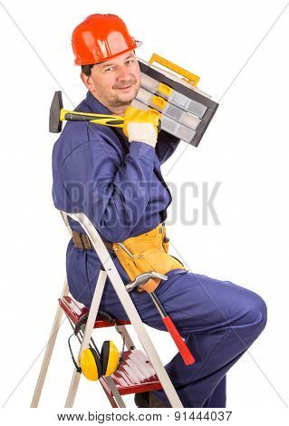 Worker on a staircase