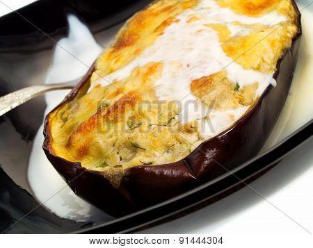 Stuffed Eggplant With Cheese
