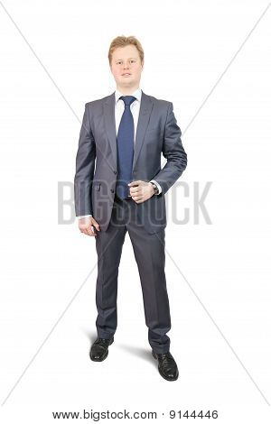 Isolated Full Length Studio Shot Of Businessman