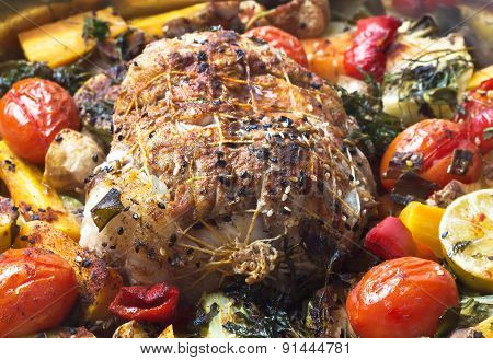 Roulade with meat with vegetables and spices.