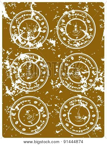 Brown grunge background  with coffee stamps