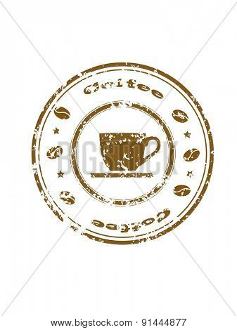 Grunge stamp with brown coffee