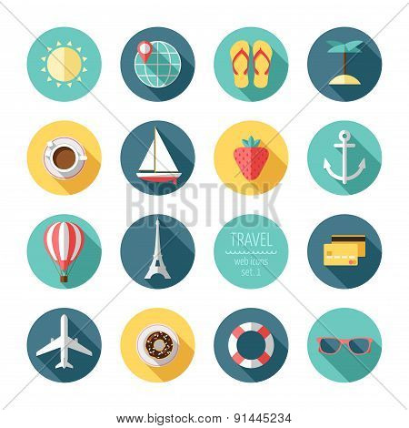 Travel and tourism flat icons set