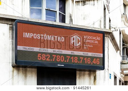 SAO PAULO, BRAZIL - CIRCA MARCH 2015: Impostometro (Taxes that people in Brazil are paying) in Sao Paulo, Brazil