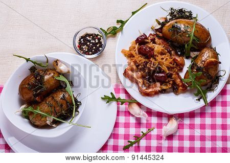 Stewed Cabbage With Baked Potatoes