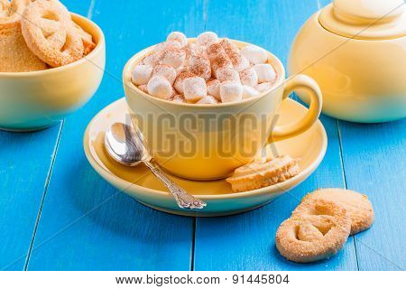 Hot Chocolate In A Yellow Cup