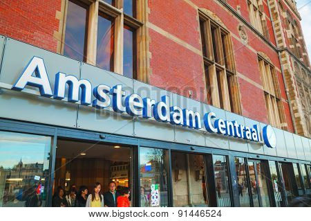 Entrance To The Amsterdam Centraal Railway Station
