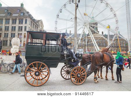 Horse Cart At Dam Square In Amsterdam