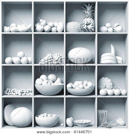 set of white fruits on the white  shelves. 3D concept
