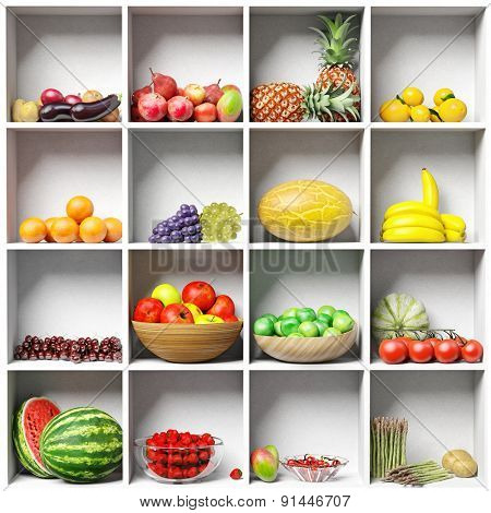 set of different fruits on the white  shelves. 3D concept