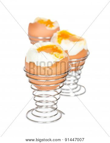 Boiled Eggs In Metal Stands