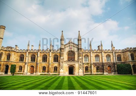 Courtyard Of The Corpus Christi College In Cambridge, Uk