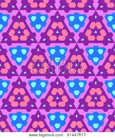 Purple Violet Pink Blue Cyan Color Abstract Geometric Seamless Pattern