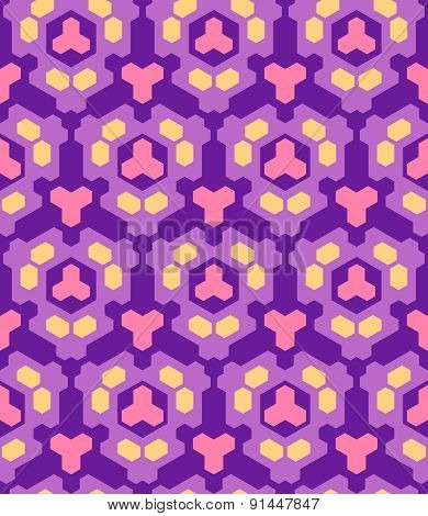 Violet Purple Orange Pink Color Abstract Geometric Seamless Pattern.
